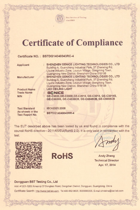 LED Ceiling ROHS Certification